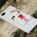 Bling Hello kitty Crystal Cases Rhinestone Pearls Covers for iPhone 7S - White