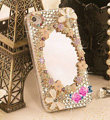 Bling Mirror Flowers Crystal Cases Covers for iPhone 7S - White