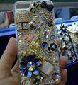 Bling Swarovski crystal cases Flowers diamond cover for iPhone 7S - Navy blue