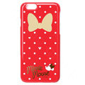 Brand Minnie Mouse Covers Plastic Back Cases Cartoon Bowknot for iPhone 7S - Red