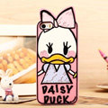 Cartoon Daisy Duck Cover Disney Graffiti Silicone Cases Skin for iPhone 7S - Pink