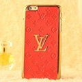 Classic LV Metal Flower Leather Cases Luxury Hard Back Covers Skin for iPhone 7S - Orange