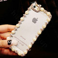 Pretty Swarovski Bling Rhinestone Pearl Bumper Frame Case Cover for iPhone 7S - White