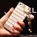 Unique Swarovski Bling Case Heart Tassels Rhinestone Cover for iPhone 7S - White