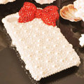 Bling Bowknot Crystal Cases Rhinestone Pearls Covers for iPhone 8 - Red