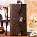 Classic LV Floral High Quality Leather Flip Cases Holster Covers for iPhone 8 - Brown
