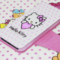 Heart Hello Kitty Side Flip leather Case Holster Cover Skin for iPhone 8 - Pink
