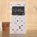 Hot Sale LV Louis Vuitton Floral Bracket Leather Flip Cases Holster Covers for iPhone 8 - White