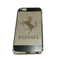 Luxury Plated metal Hard Back Cases Ferrari Covers for iPhone 8 - Grey