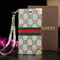 Classic Gucci High Quality Leather Flip Cases Holster Covers For iPhone 8 Plus - Blue