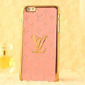 Classic LV Metal Flower Leather Cases Luxury Hard Back Covers Skin for iPhone 8 Plus - Pink