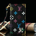 High Quality LV Louis Vuitton Flower Leather Flip Cases Holster Covers For iPhone 8 Plus - Black