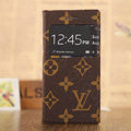 Hot Sale LV Louis Vuitton Bracket Leather Flip Cases Holster Covers for iPhone 8 Plus - Brown
