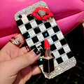Pretty Swarovski Bling Rhinestone Red lips Case Classic Plaid Cover for iPhone 8 Plus