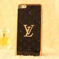 Classic LV Metal Flower Leather Cases Luxury Hard Back Covers Skin for iPhone 7S Plus - Black