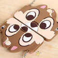 Cute Cover Cartoon Chipmunk Silicone Cases Chain for iPhone 7S Plus - Brown