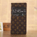 Hot Sale LV Louis Vuitton Floral Bracket Leather Flip Cases Holster Covers for iPhone 7S Plus - Brown