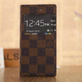 Hot Sale LV Louis Vuitton Lattice Bracket Leather Flip Cases Holster Covers for iPhone 7S Plus - Brown