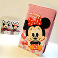 Minnie Mouse Side Flip leather Case Holster Cover Skin for iPhone 7S Plus - Pink