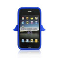 Angel Pattern Silicone Case for Apple iPhone 4th / 4G - Deep Blue