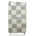 High Quality LV Damier Pattern Protective Case for iPhone 4th / 4G - White & Black