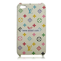 High Quality LV Pattern Protective Case for iPhone 4th / 4G - White