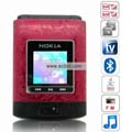 N90 Quad Band Dual Cards Dual Cameras Color TV Dual Bluetooth Java Flip China Phone-Red
