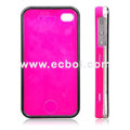 Nice Feel Oiled Plastic Protective Case for Apple iPhone 4th / 4G - Amaranth