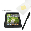 PU Leather Case with Touch Pen & Frosted Protective Film for Apple iPad - Black