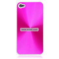 Shiny Coil Pattern Hardware Material Protective Case for Apple iPhone 4th / 4G - Amaranth