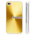 Shiny Coil Pattern Hardware Material Protective Case for Apple iPhone 4th / 4G - Golden