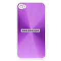 Shiny Coil Pattern Hardware Material Protective Case for Apple iPhone 4th / 4G - Purple