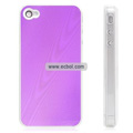 Shiny Tree Texture Hardware Material Protective Case for Apple iPhone 4th / 4G - Purple