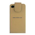 Vertical Flip Open PU Leather Case for Apple iPhone 4th / 4G - Golden