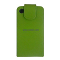 Vertical Flip Open PU Leather Case for Apple iPhone 4th / 4G - Green