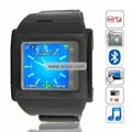 W600T Quad Band Single SIM Card Camera Touch Screen Metal Watch China Phone-Black